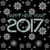 2017. Happy New Year. Seamless pattern. Snowflakes greeting card. Background for winter and christmas theme. Vector illustration. Snowing background royalty free illustration