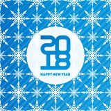 Happy New Year 2018. Seamless pattern with snowflakes. Winter ba Royalty Free Stock Photos