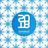 Happy New Year 2018. Seamless pattern with snowflakes. Winter ba Stock Photo