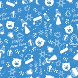 Happy New Year seamless pattern with new year tree, stars, present, sweets and little girl. Winter holiday backgrounds for design. Vector illustration royalty free illustration