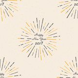 Happy New Year 2017. Seamless pattern. Vintage style. Beautiful greeting card poster calligraphy bl. Ack text word gold fireworks. Vector illustration vector illustration
