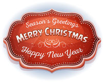 Happy New Year And Season's Greetings Badge Royalty Free Stock Photo