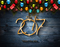 2017 Happy New Year seasonal background with Christmas baubles Royalty Free Stock Images