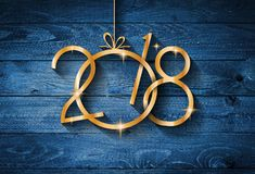 2018 Happy New Year seasonal background with real wood green pine Royalty Free Stock Photography