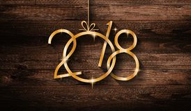 2018 Happy New Year seasonal background with real wood green pine. 2018 Happy New Year seasonal background with real wood background., Aged parquet of pine wood Royalty Free Stock Photo
