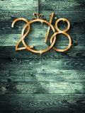 2018 Happy New Year seasonal background with real wood green pine Royalty Free Stock Images