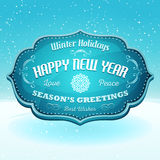 Happy New Year And Seasons Greetings Banner. Illustration of a cartoon seasons greetings and happy new year banner on snow landscape background, for winter Royalty Free Stock Photography