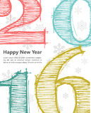 Happy new 2016 year. Seasons Greetings. Colorful design. Vector illustration and photo image available Royalty Free Stock Images