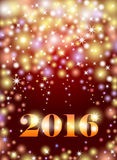 Happy New 2016 Year. Seasons greetings, colorful fireworks desig. N. Abstract bokeh background with lights, shining stars and bright glow on purple Royalty Free Stock Images