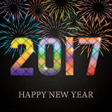Happy New Year. Happy New 2017 Year. Seasons greetings, colorful fireworks design Stock Photos