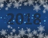 Happy New 2018 Year. Seasons Greetings. Snowflakes ans Light Garlands. Colorful Winter Background. Vector Stock Photos