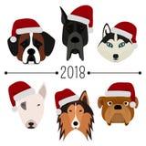 2018. Happy New Year. Set of 6 dog`s head with santa claus cap. Flat design. Pets. Cute doggies. Cartoon character. 2018. Happy New Year. Set of 6 dog`s head Stock Images