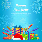 Happy New Year 2017. Set of Fireworks, Gift Boxes. Happy New Year 2017. Collection of colourful fireworks, gift boxes, Santa Claus hat on blue background Stock Image