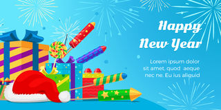 Happy New Year 2017. Set of Fireworks, Gift Boxes. Happy New Year 2017. Collection of colourful fireworks, gift boxes, Santa Claus hat on blue background Royalty Free Stock Photos