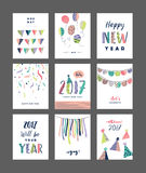 Happy New Year. Set of 2017 New Year greeting cards Stock Image