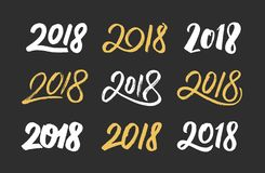 New Year 2018 hand drawn numbers set. Happy New Year 2018. Set of hand drawn script numbers in white and gold color for Chinese for Year of the Dog. Vector Stock Image