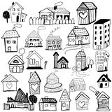 Happy new year 2011. A set of many cute childlike line art houses Stock Photography