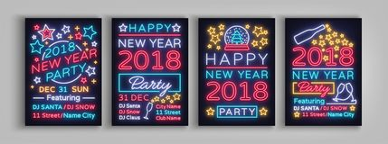Happy New Year 2018 Set Poster Vector Illustration. Neon signs. Collection brochure design in a neon style style. Invitation invitation for the New Year party Royalty Free Stock Photo