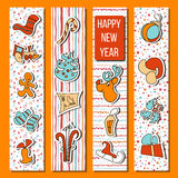 Happy New Year set in stripes. orange background Royalty Free Stock Photo