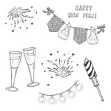Happy new Year Set. Vector hand drawn illustration of Happy New Year Set. Fireworks and Rocket Firework, garland flag and lamp, clinking glasses with champagne vector illustration