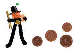 Lucky Chimney Sweep & Pfennig. Several German Good Luck symbols for the New Year such as the Chimney Sweep, the pig, the four-leaf clover and the one pfennig Royalty Free Stock Images