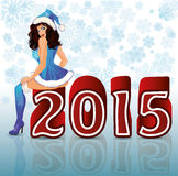 Happy New 2015 Year sexual santa girl. Vector vector illustration