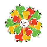Happy new year, Shana Tova in Hebrew, Jewish holiday. colourful apples around circle. Vector illustration Stock Photos