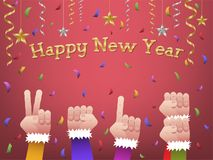 Happy new year 2018 shaped hands. Five hands forming number 2018 in colorful suits to celebrate Happy New Year with hanging gold, silver ribbon, stars and stock illustration