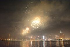 Happy new year 2019. Sharjah uae firework for new year 2019 stock photo