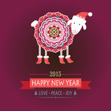 Happy New Year 2015 sheep. Colorful, cute sheep in boots on burgundy color background. Happy new year. Greeting card Stock Photos