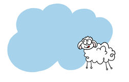 Happy New Year sheep 2015. Happy sheep flying with heart on snowing background royalty free illustration