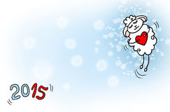 Happy New Year sheep 2015. Happy sheep flying with heart on snowing background stock illustration