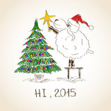Happy New Year sheep 2015. Funny sketching sheep decorate the Cristmas tree - symbol of the New Year 2015 Stock Photos