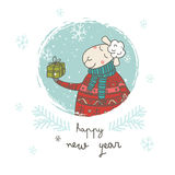 Happy new year sheep with gift card. Can be printed as greeting card vector illustration