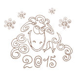 Happy new year 2015. Sheep. Hand-drawing. Line art. Stock Photos
