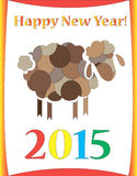Happy new year sheep. Patched sheep symbolizing new year of 2015, holiday vector illustration Stock Image
