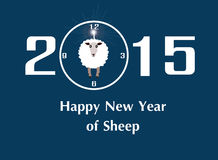 Happy New Year Sheep 2015. Vector illustration of 2015 and happy new year of sheep with a sheep on a blue background Royalty Free Stock Photography