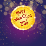 Happy new year 2015, shining circle. Happy new year 2015, bokeh background Royalty Free Stock Photography