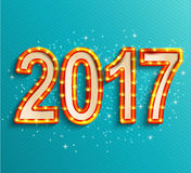 Happy new year 2017 shining retro light. Stock Images