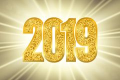 Happy New Year shiny gold number 2019. Golden glitter digits on sun rays bokeh background. Shiny glowing design, light. Sparkle for Christmas celebration vector illustration