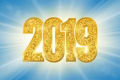 Happy New Year shiny gold number 2019. Golden glitter digits on sun rays bokeh background. Shiny glowing design, light. Sparkle for Christmas celebration stock illustration