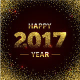 Happy New Year 2017 Shiny Greeting Card Made of Glitter Particles.. Party poster, banner or invitation. Number formed by sparks. Vector illustration Stock Photography