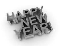 Happy new year - shiny silver words Stock Images
