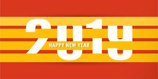 Happy New Year 2019 with shodow of cloud on red background. Vect. Or illustration with calligraphy design of number in paper cut and digital craft royalty free illustration