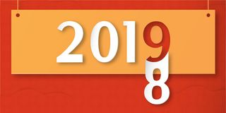 Happy New Year 2019 with shodow of cloud on red background. Vect. Or illustration with calligraphy design of number in paper cut and digital craft. The concept vector illustration
