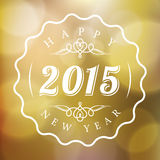 Happy New Year 2015 sign on Abstract blurred gold background. Happy New Year 2015 vector sign on Abstract blurred lights gold background Stock Photo