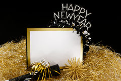 Happy New Year Sign in Black and Gold Stock Image