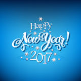 Happy New Year 2017 sign on blue background. Calligraphy text, poster template. Vector vector illustration