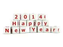 2014 Happy New Year sign. On bricks isolated on white Stock Illustration