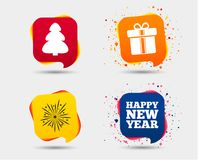 Happy new year sign. Christmas tree and gift box. Happy new year icon. Christmas tree and gift box signs. Fireworks explosive symbol. Speech bubbles or chat Royalty Free Stock Photo